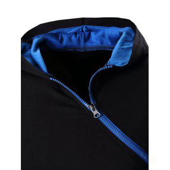 Men's Zipper Design Hooded Short Sleeve T-Shirt - BLUE 2XL