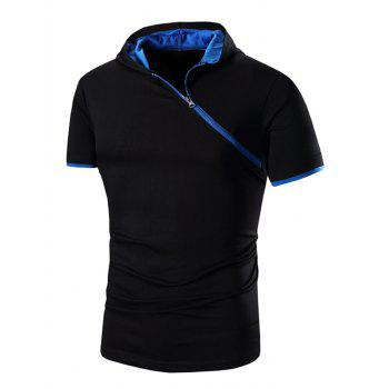 Men's Zipper Design Hooded Short Sleeve T-Shirt