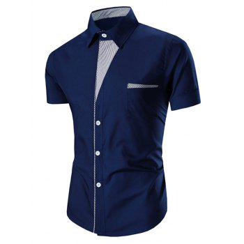 Men's Turn Down Collar Stripes Printed Short Sleeve Shirt