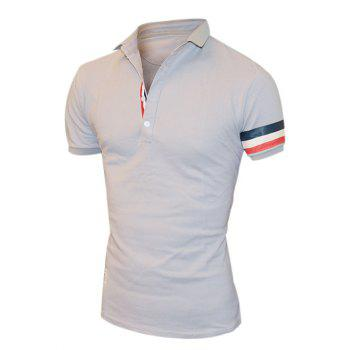 Men's Black and Gray Color Stripe Embellishment Polo T-Shirt