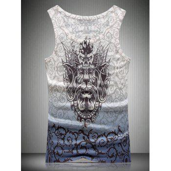 Thorns and Dragon 3D Print Round Neck Ombre Men's Tank Top
