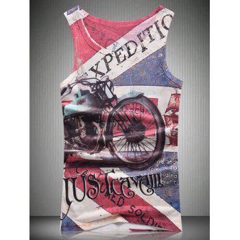 Vintage Motorcycle 3D Print Round Neck Men's Tank Top