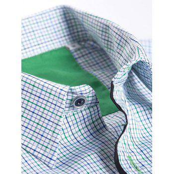 Men's Turn-Down Collar Gingham Long Sleeve Shirt - COLORMIX L
