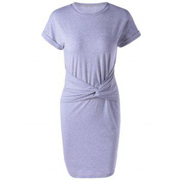 Round Collar Short Sleeve Bodycon Dress
