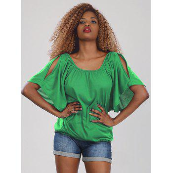 Sweet Women's Half Sleeve Scoop Neck Hollow Out Blouse - GREEN XL