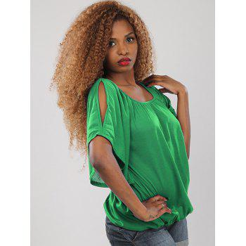 Sweet Women's Half Sleeve Scoop Neck Hollow Out Blouse - GREEN GREEN