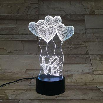 3D Heart Shape Balloon Bedroom Acrylic LED Night Light - COLORFUL COLORFUL