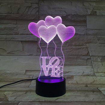 3D Heart Shape Balloon Bedroom Acrylic LED Night Light -  COLORFUL