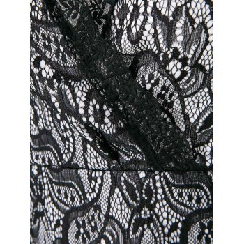 Sexy Plunging Neckline Bodycon Long Sleeve Lace Dress - BLACK ONE SIZE(FIT SIZE XS TO M)