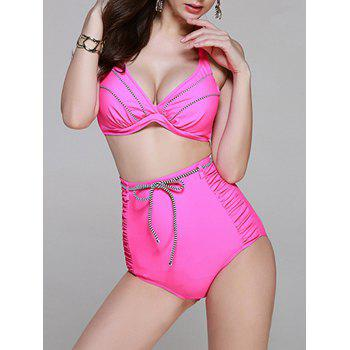 Fashionable Women's Halter High Wiasted Tie Bikini Set