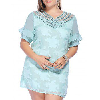 Sweet Plus Size Hollow Out Solid Color Beaded Women's Dress