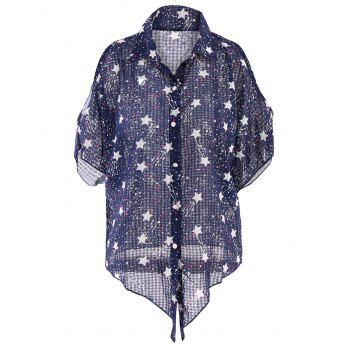 Fashionable Shirt Collar Bowknot Design Star Print Women's Blouse