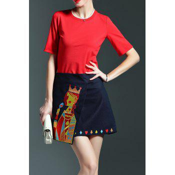 Embroidered Pocker Queen Skirt and T-Shirt Suit