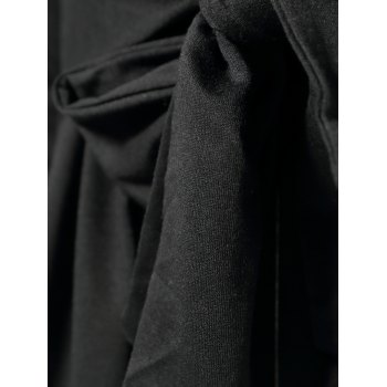 Stylish Turn-Down Collar Long Sleeve Asymmetrical Solid Color Women's Coat - BLACK ONE SIZE(FIT SIZE XS TO M)