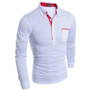 Stylish Turn-dwon Collar One Pocket Polka Dot Print Long Sleeves Polyester Polo Shirt For Men - WHITE WHITE