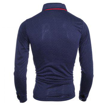 Stylish Turn-dwon Collar One Pocket Polka Dot Print Long Sleeves Polyester Polo Shirt For Men - CADETBLUE XL