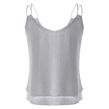 Fashionable Women's V-Neck  Spaghetti Strap Chiffon Top - GRAY GRAY