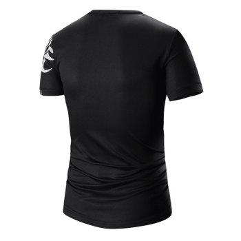 Men's Round Neck Printed Short Sleeve T-Shirt - BLACK M