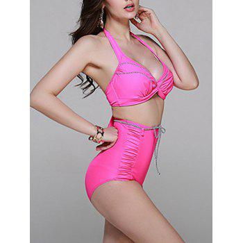 Fashionable Women's Halter High Wiasted Tie Bikini Set - PINK 2XL