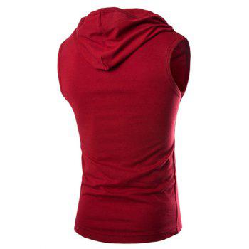 Men's Casual Hooded Solid Color Tank Top - WINE RED XL