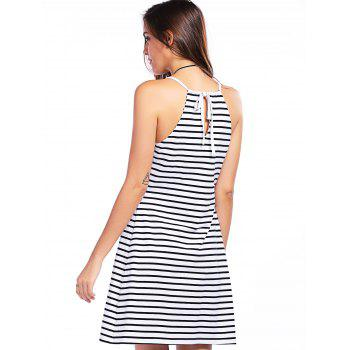 Fashionable Plunging Neck Striped Gallus Dress For Women - WHITE/BLACK L