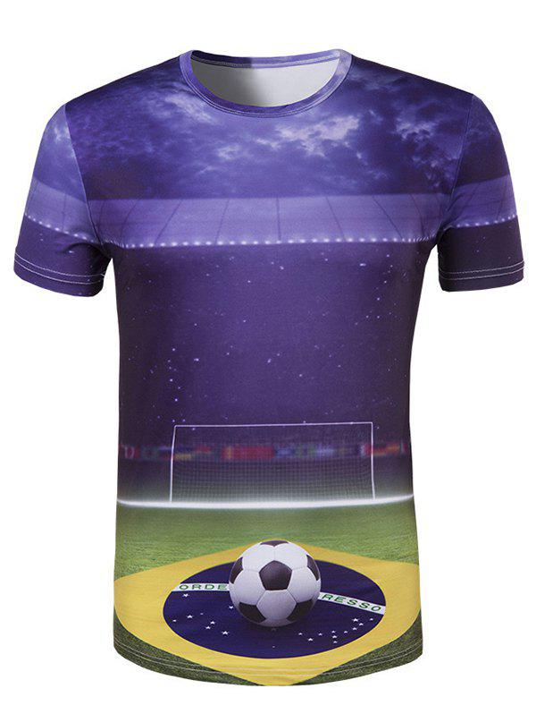 Men's Slim Fit Round Collar UEFA Champions League Printing T-Shirt
