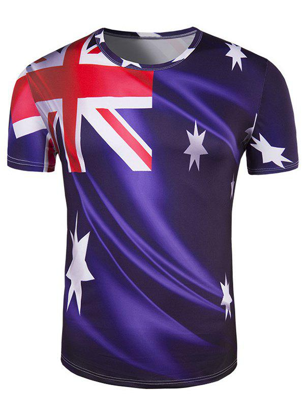 Men's Slim Fit Round Collar Australian Flag Printing T-Shirt - DEEP PURPLE 2XL