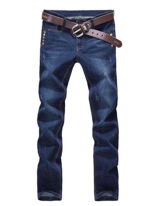 Rivets Embellished Straight Zipper Fly Denim Pants - DEEP BLUE 29