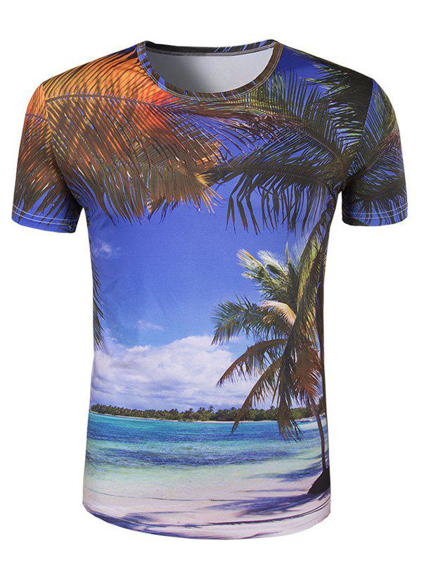 Men's Slim Fit Round Collar 3D Coconut Palm Printing T-Shirt - COLORMIX 2XL