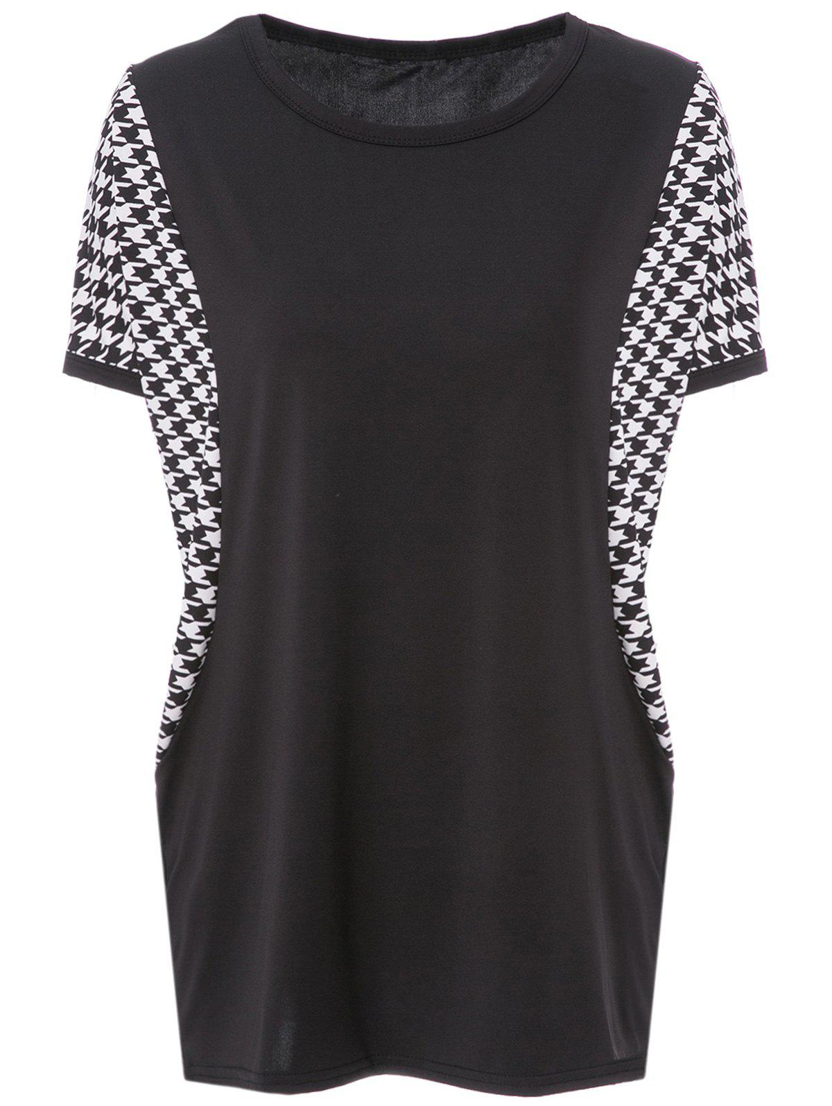 Stylish Scoop Neck Houndstooth Dolman Sleeve T-Shirt For Women - BLACK L