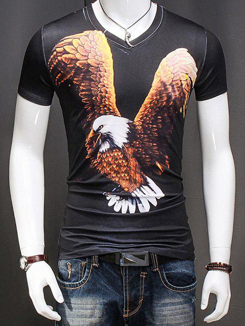 Stylish 3D Eagle Printed Plus Size V-Neck Short Sleeve Men's T-Shirt - BLACK 2XL