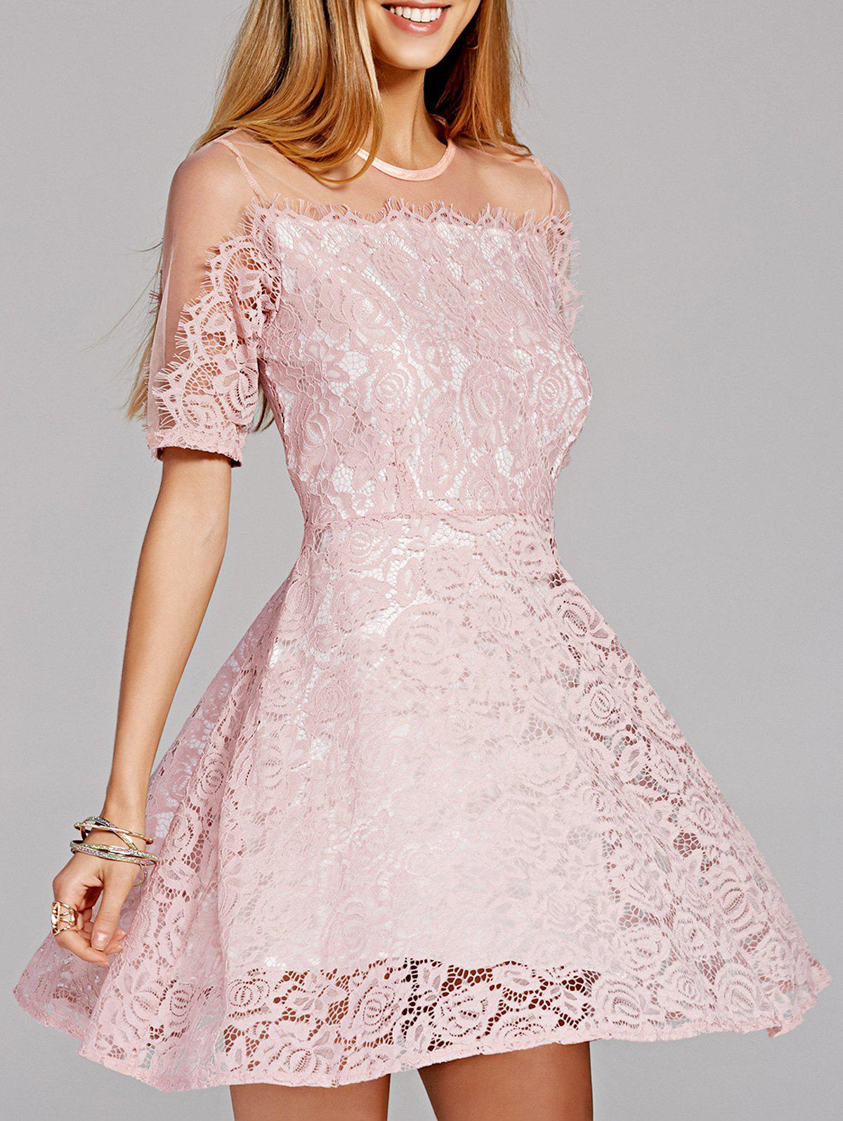Sweet Gauze Spliced Sheer Fit and Flare Lace Dress For Women - PINK XL