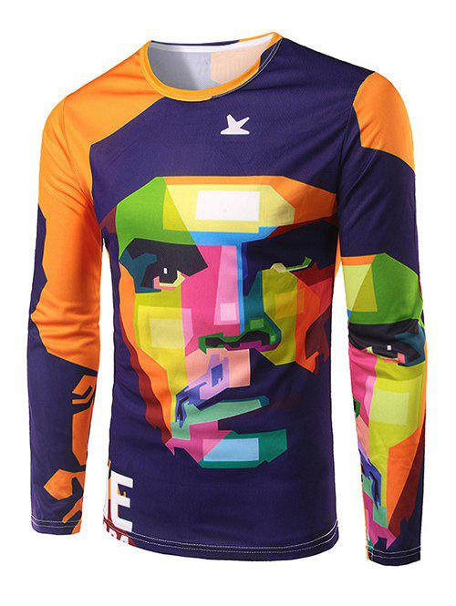 Men's Slim Fit Round Collar Che Guevara Printing T-Shirt - COLORMIX 2XL