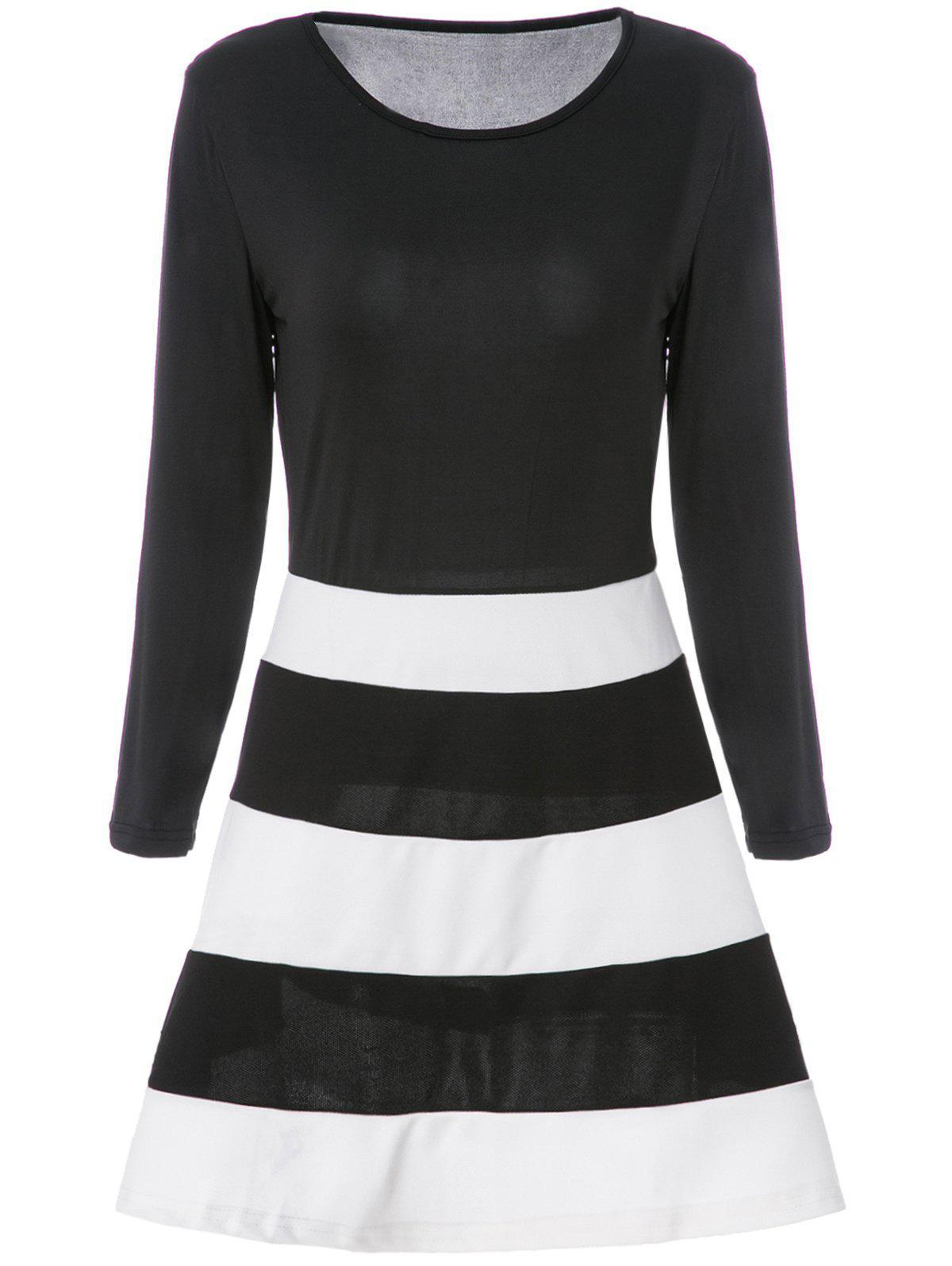 Simple Scoop Neck Long Sleeve Striped Color Block Women's Dress - WHITE/BLACK S