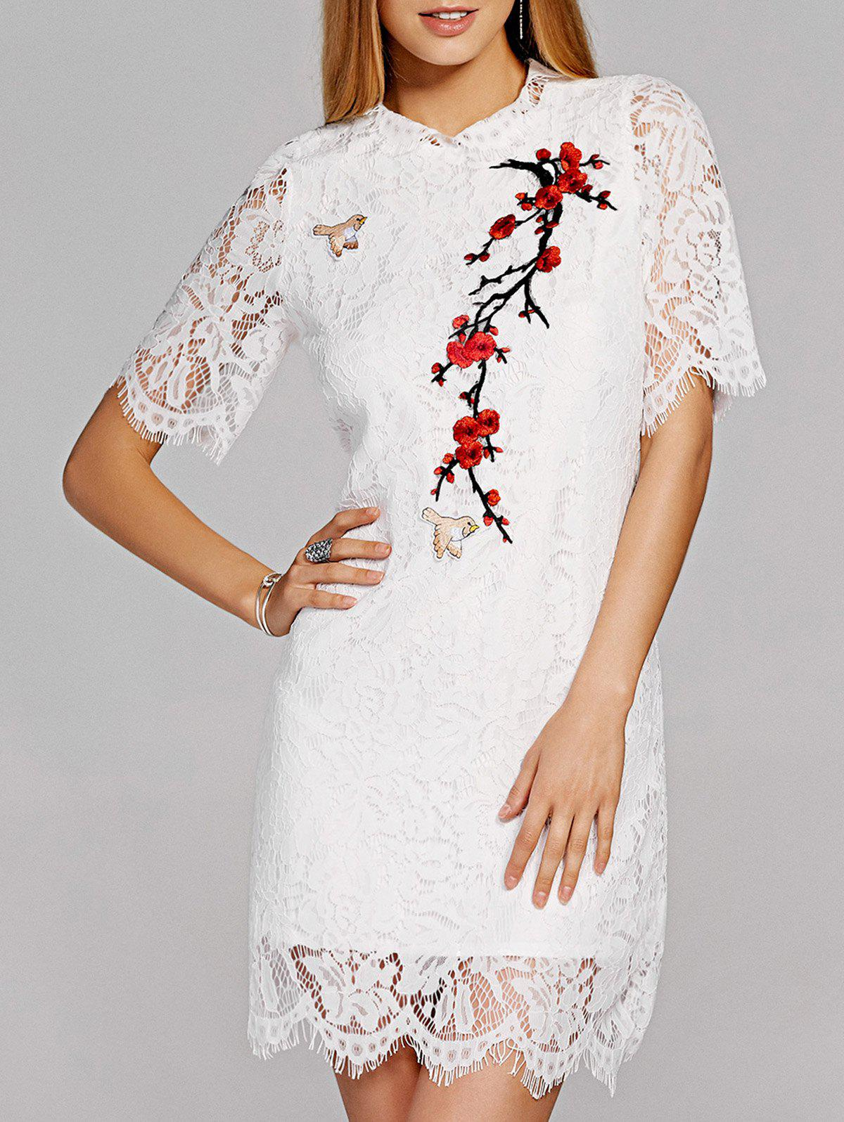 Scalloped Floral Embroidered Lace Crochet Dress - WHITE XL