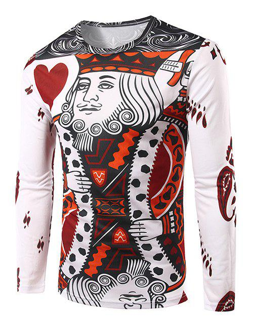 Men's Slim Fit Round Collar Poker Printing T-Shirt - COLORMIX M