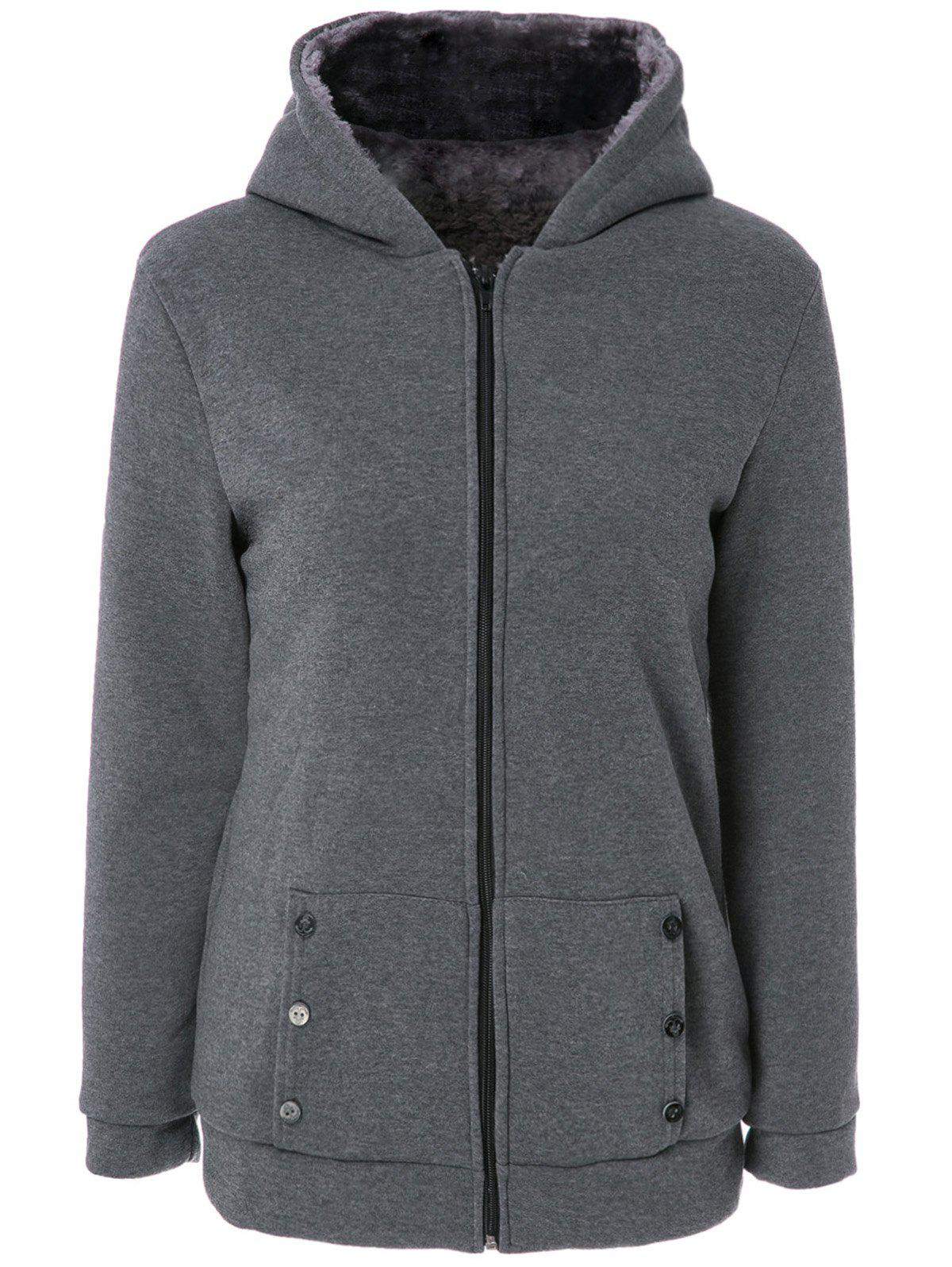 Stylish Women's Long Sleeves Solid Color Zippered Flocking Hoodie - DEEP GRAY M