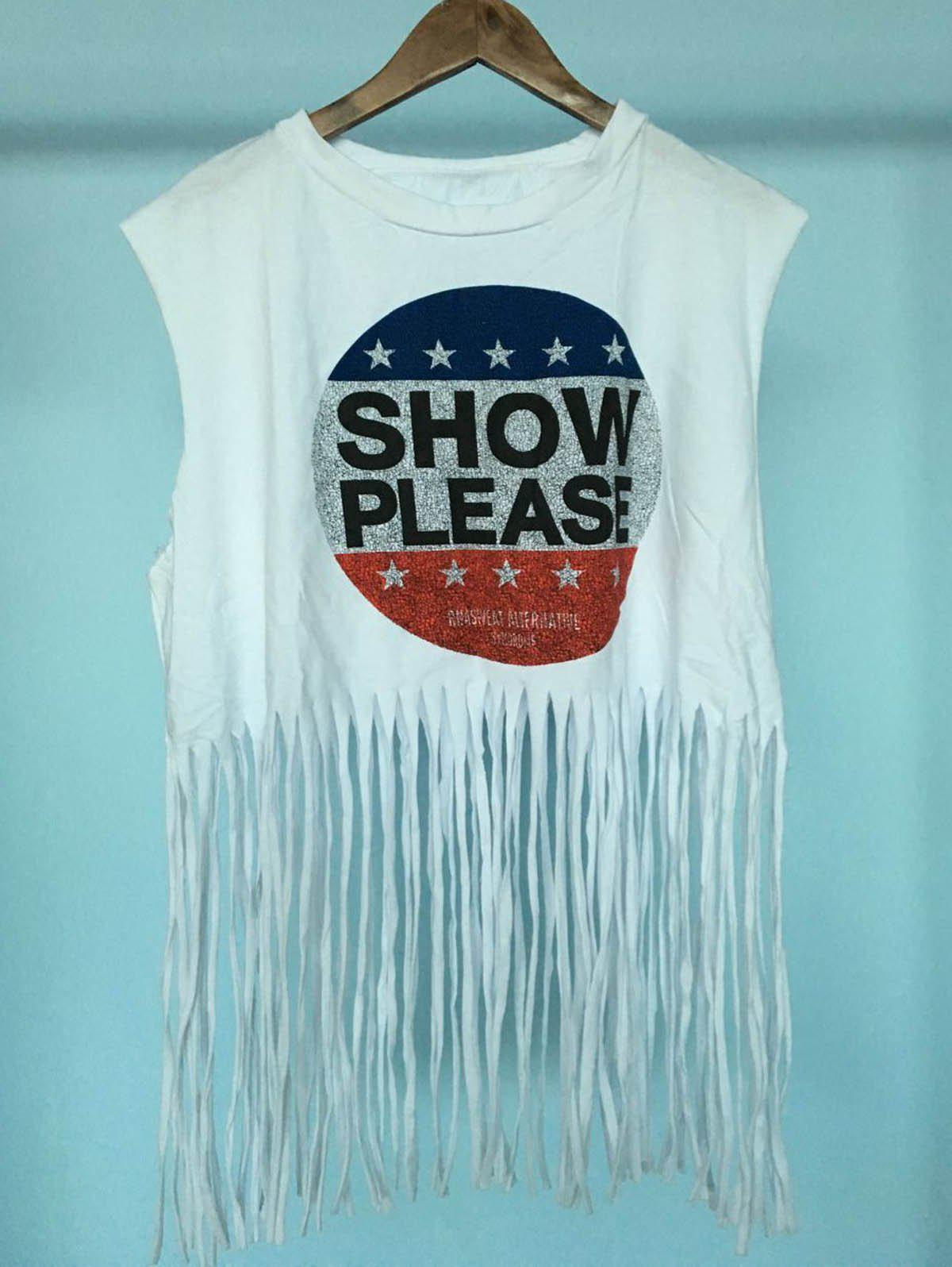 Stylish Women's Scoop Neck Fringe Print Sleeveless Blouse - WHITE ONE SIZE(FIT SIZE XS TO M)