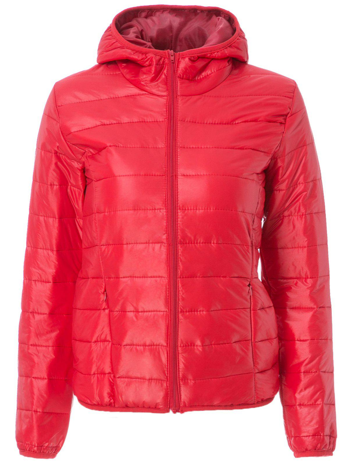 Stylish Hooded Long Sleeve Pocket Design Zippered Women's Down Jacket - RED M
