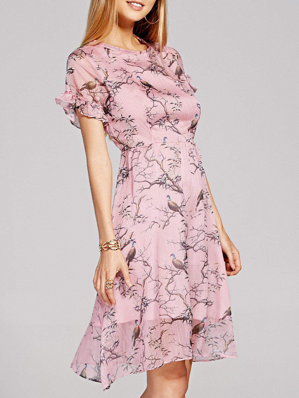 Print High Waisted Dress - LIGHT PINK 2XL
