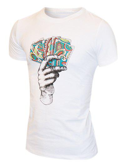 Men's Round Neck Hand Printed Short Sleeves T-Shirt - WHITE 2XL