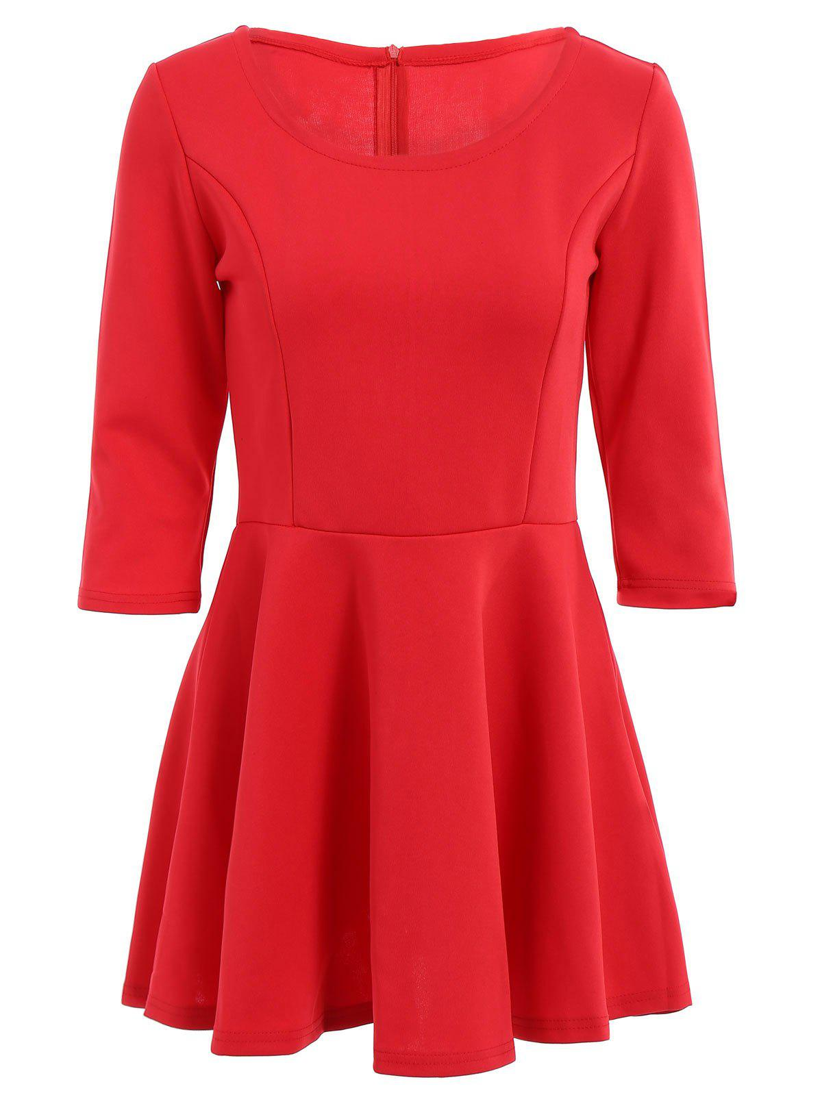 Stylish Scoop Neck 3/4 Sleeve Solid Color A Line Women's Dress - RED L