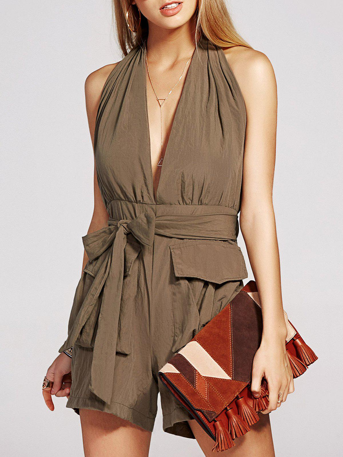 Charming Sleeveless Backless Solid Color Pocket Design Women's Romper - ARMY GREEN XL