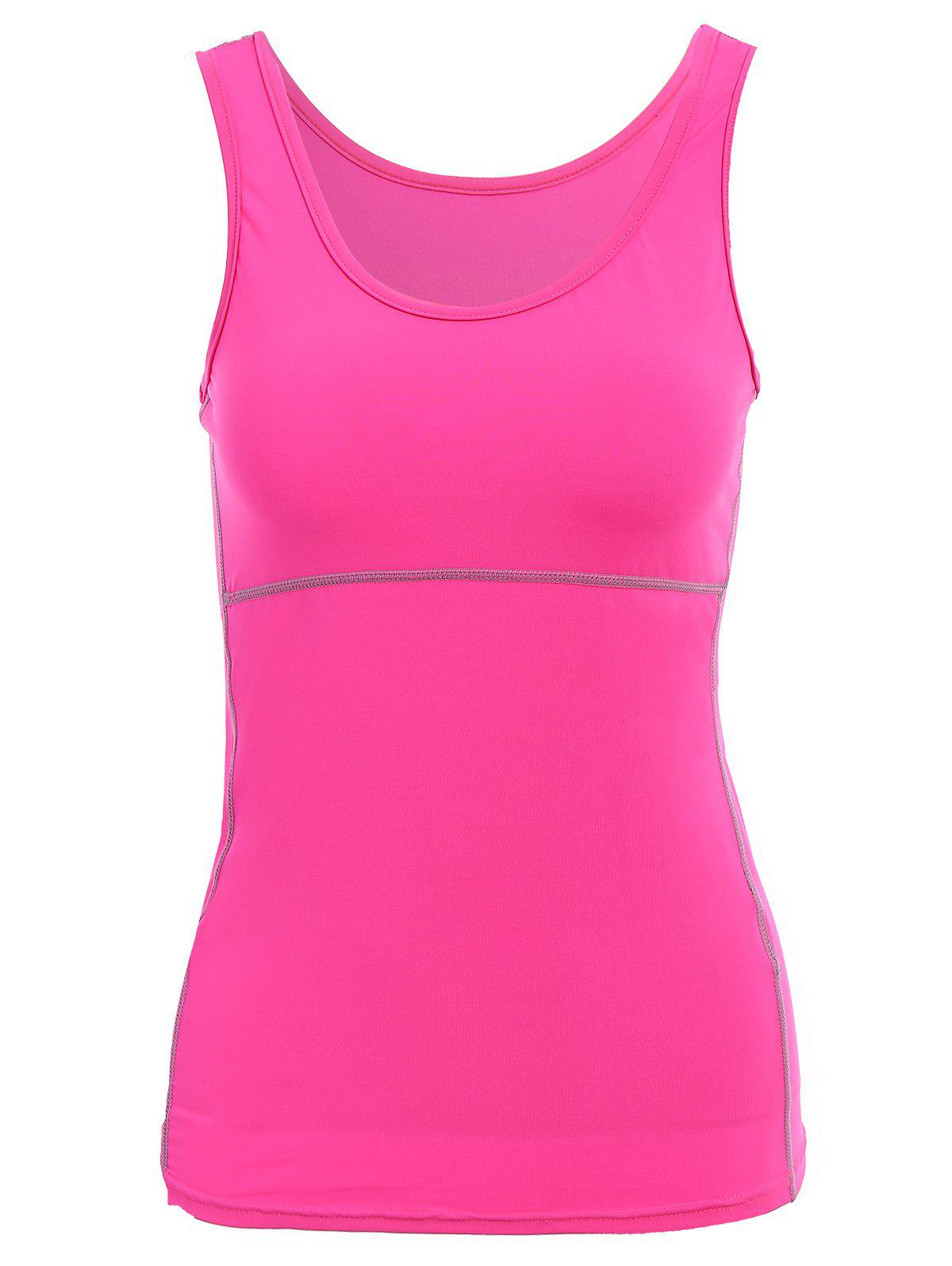Active U Neck Stretchy Women's Yoga Tank Top - ROSE M