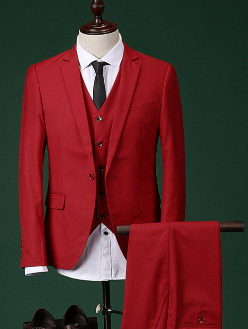 Slimming Single Breasted Lapel Long Sleeve Men's Three-Piece Suit ( Blazer + Waistcoat + Pants ) - RED L