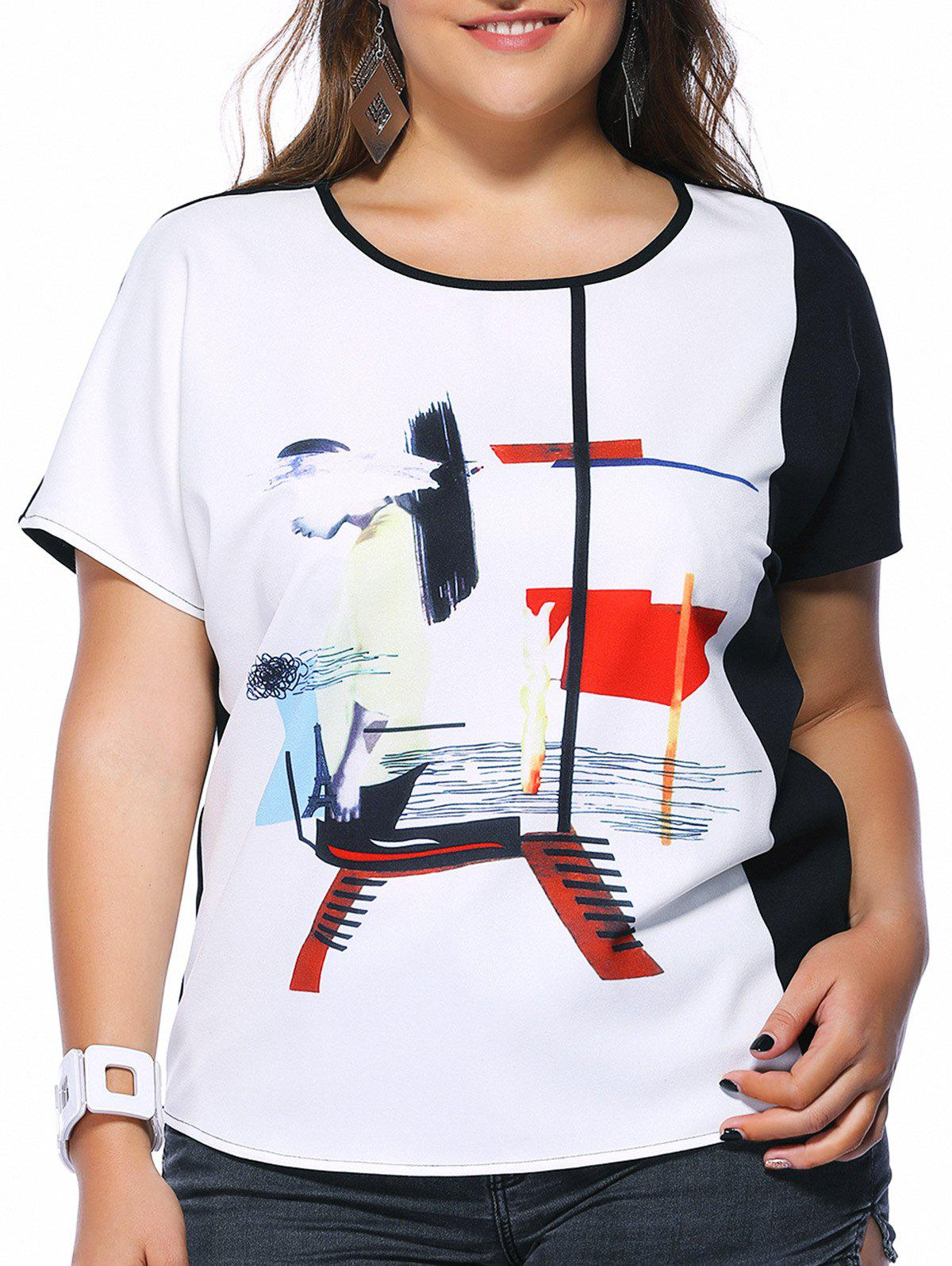 Chic Plus Size Printed Hit Color Women's T-Shirt