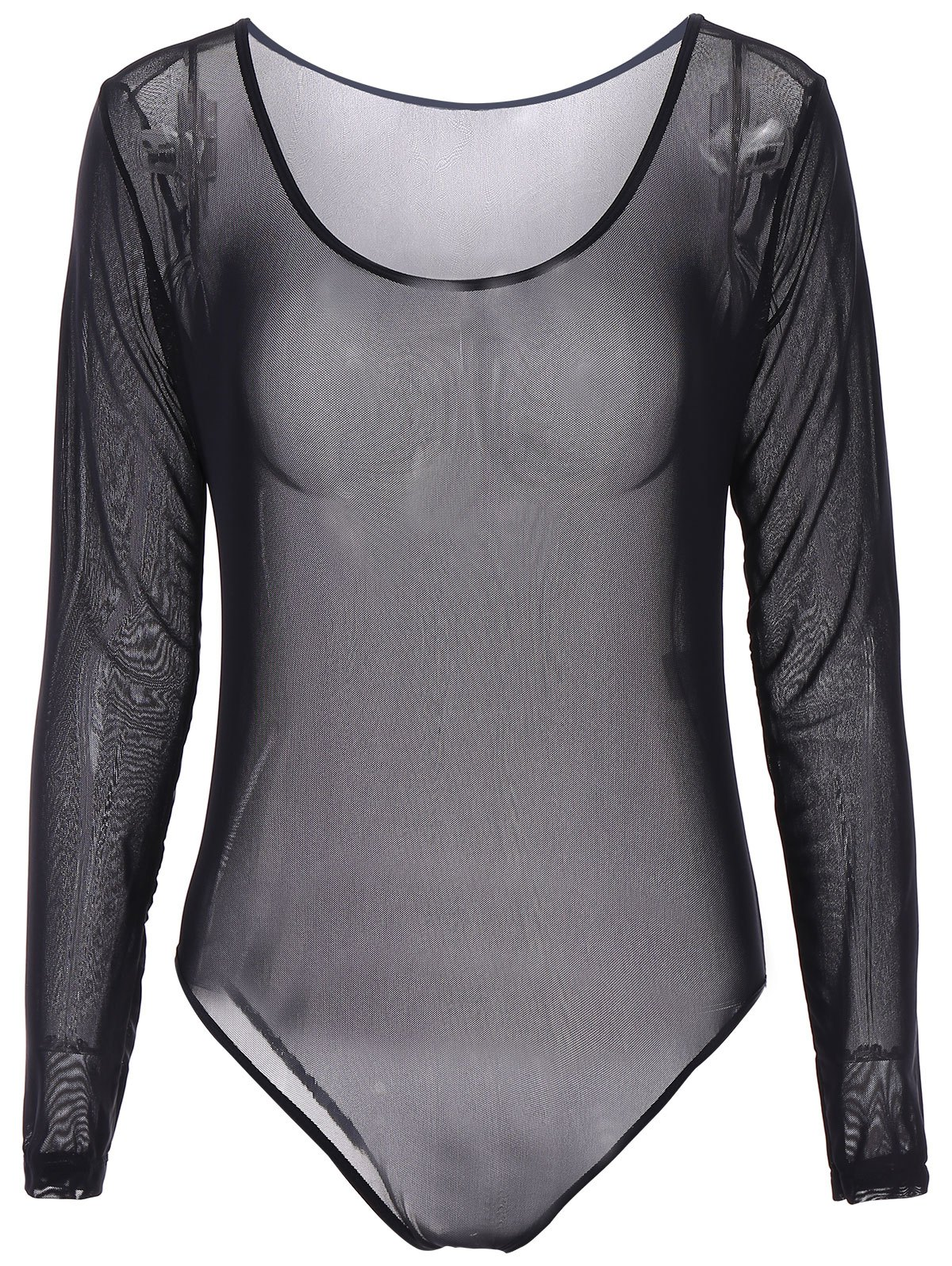 Alluring Scoop Neck Long Sleeve See-Through Solid Color Womens Black TeddyWomen<br><br><br>Size: S<br>Color: BLACK