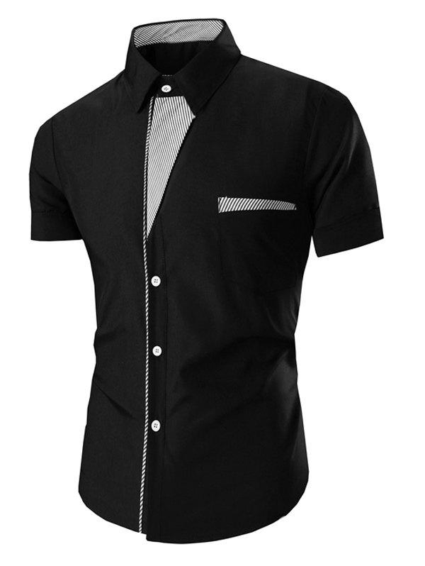 Men's Turn Down Collar Stripes Printed Short Sleeve Shirt - BLACK M