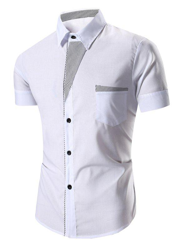 Men's Turn Down Collar Stripes Printed Short Sleeve Shirt - WHITE M