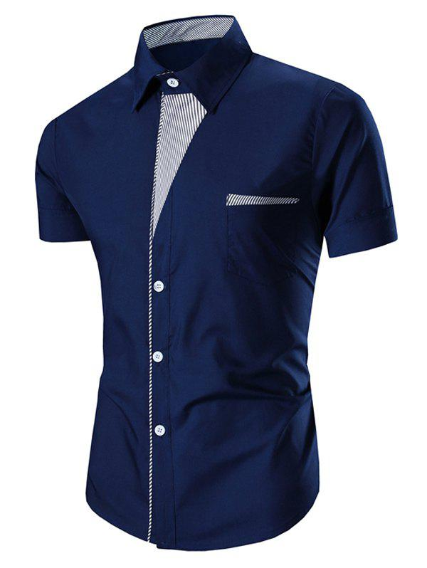 Men's Turn Down Collar Stripes Printed Short Sleeve Shirt - CADETBLUE L